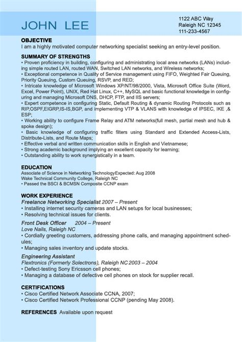 Entry Level It Resume Exles by Entry Level Resume Sle Resumesplanet