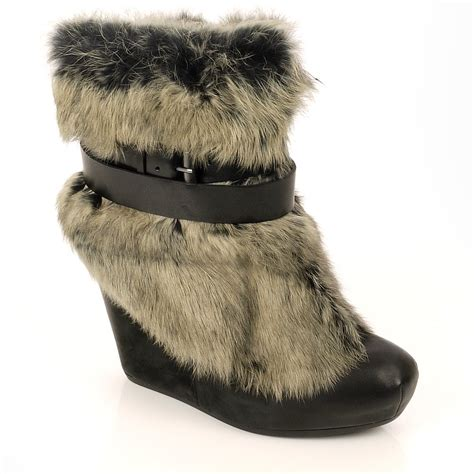 grey fur wedge ankle boots