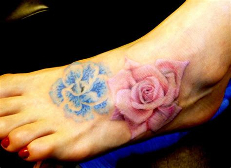 Feet Tattoo Images Designs Blue Flower On Foot