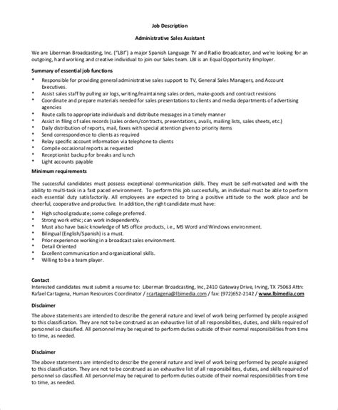 sle administrative assistant job description 8