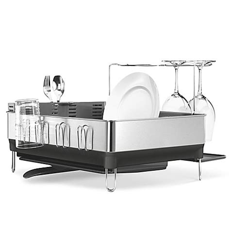 bed bath and beyond dish rack simplehuman 174 steel frame dish rack with wine glass holder