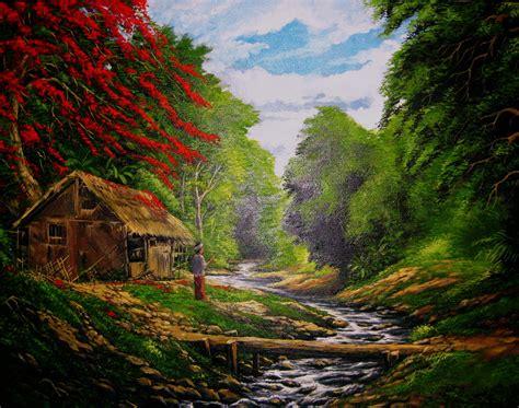 Lukisan Pemandangan Pegunungan pemandangan alam hebat gambar wallpaper foto pemandangan