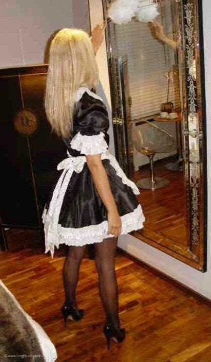 fictionmanai locked in lace french maid sheer black stockings and black high heels
