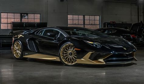 gold lamborghini black and gold lamborghini aventador s is one of the last