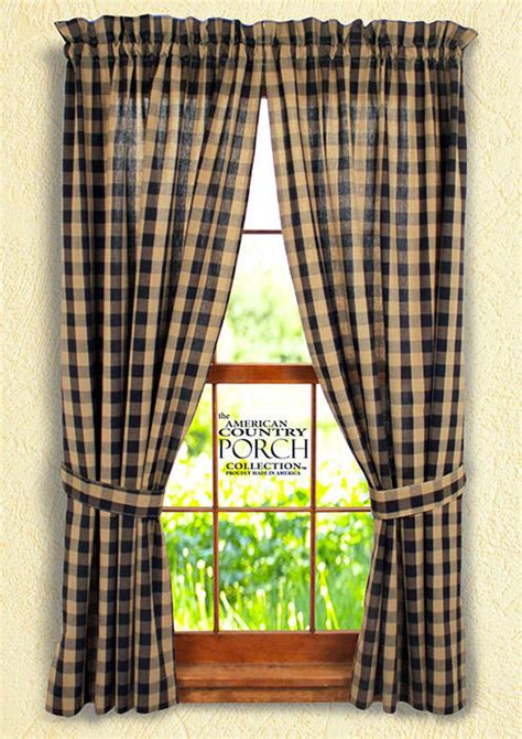 black buffalo check curtains black teadyed buffalo check tieback curtain panels