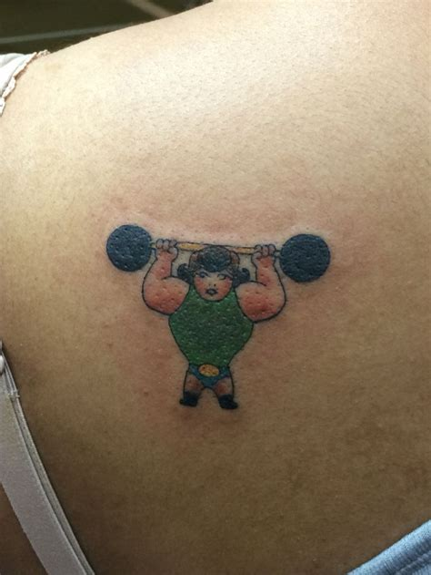old skool barbell tattoo weightlifting done 9 20