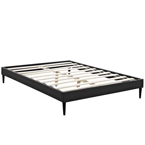 Platform Bed Frame Sherry Upholstered Vinyl Leather Platform Bed Frame Black