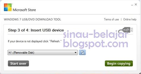 membuat bootable usb flash disk untuk windows 7 sinau belajar membuat bootable windows 7 pada usb flash