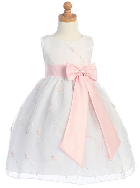 embroidered organza dress white pink embroidered organza dress w taffeta waistband bow