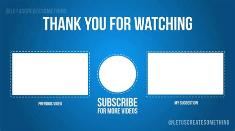 Best Youtube Outro End Screens Template 2 Letuscreatesomething Youtube End Screen Template