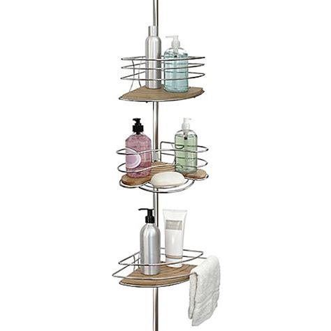 bathroom tension pole caddy tension pole shower corner caddy in bamboo chrome bed