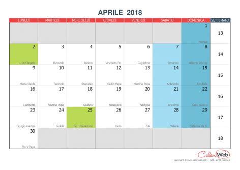 Calendario 2018 Aprile Aprile 2018 Calenweb