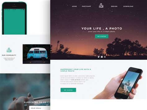 Phototime Psd Website Template Freebiesbug Free Simple Web Page Templates