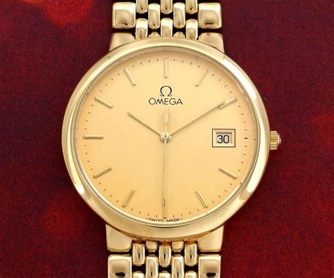 used collectable vintage omega de ville mens quartz 18k gp