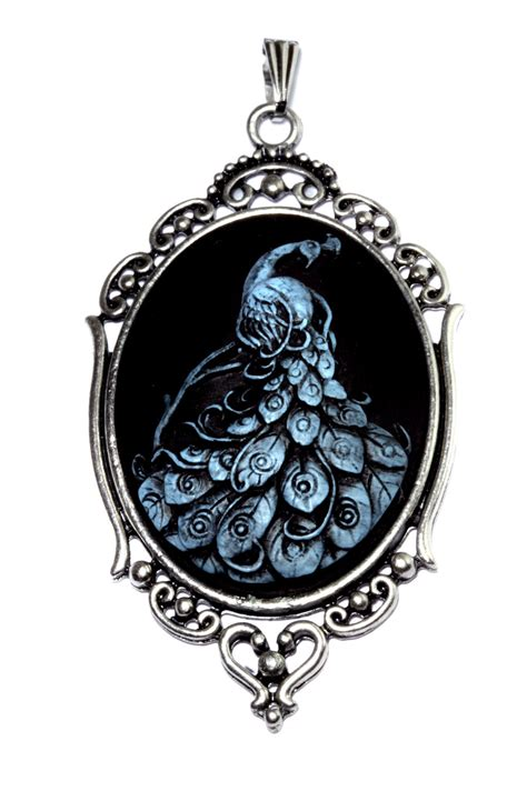 cameo pendants for jewelry neo pendant blue peacock cameo by