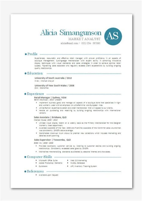 Modern Microsoft Word Resume Template Alicia By Inkpower On Etsy 12 00 Just Cute Pinterest Resume Modern Template Word