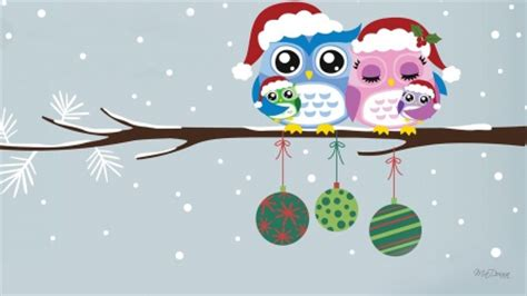 wallpaper christmas owl merry christmas owl family winter nature background