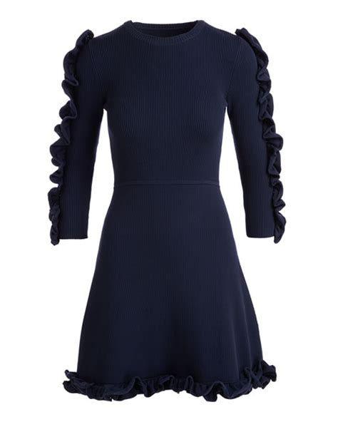 Ruffle Trim Sleeve Dress by beckham 3 4 sleeve ruffle trim dress