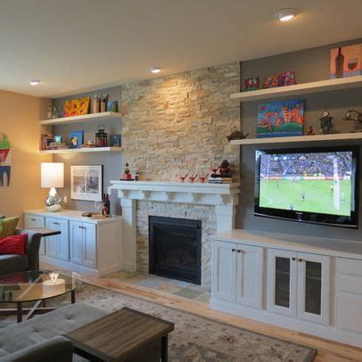tv over fireplace and media storage great room tv next to fireplace design ideas pictures remodel and
