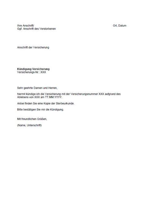 Muster Kündigung Todesfall Musterbrief K 195 188 Ndigung