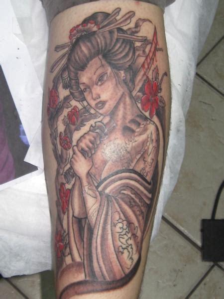 geisha tattoo on leg cute grey ink geisha tattoo on leg