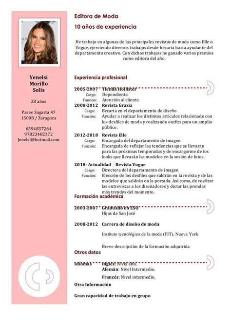 Modelo Curriculum Vitae Usa Modelos De Curriculum Vitae Lidia Plan De Estudios