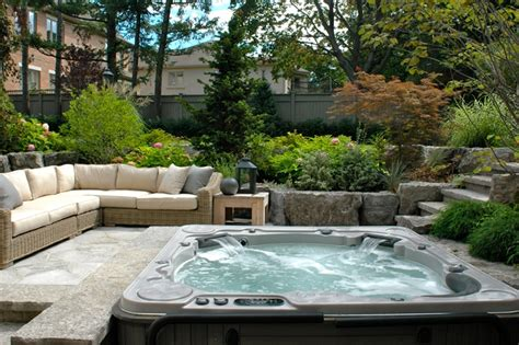 backyard hot tub designs backyard patio ideas with hot tub landscaping
