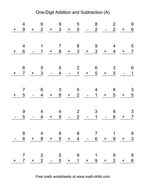 Single-Digit (A) Combined Addition and Subtraction Worksheet