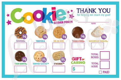 printable order form for girl scout cookies girl scout cookie order form printable
