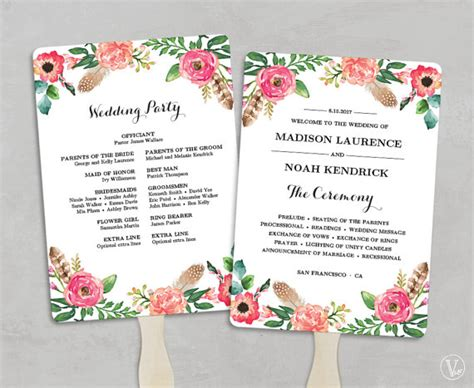 diy wedding program fans this is an instant download printable wedding program