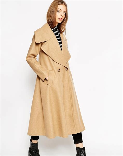 camel swing coats for ladies asos midi swing trapeze coat with extreme collar in brown