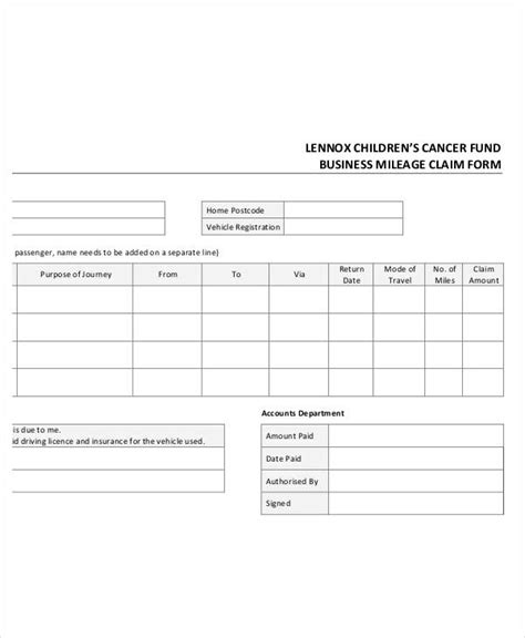 Claim Form Template Mileage Reimbursement Form Template