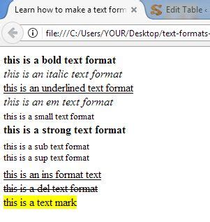 format html or text learning basic html text and paragraph formats in html