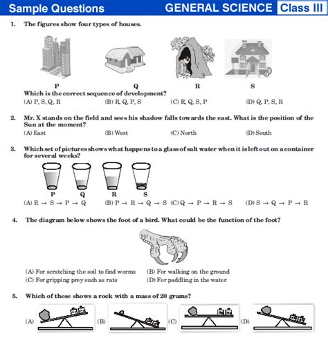pattern questions for class 3 nstse class 3 science sle papers sle previous