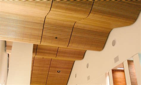 Suspended Wood Ceiling Rulon Company Wood Ceilings Acoustical Wall Systems And
