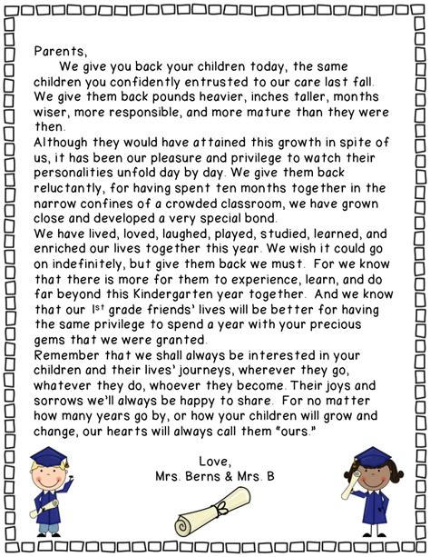 Parent Letter Graduation Preschool Graduation Quotes For Parents Quotesgram