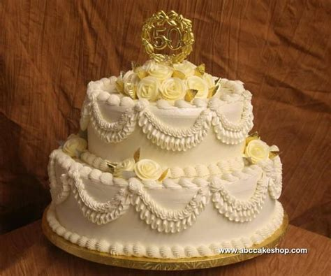 Simple 50th Anniversary Cakes   50th golden wedding