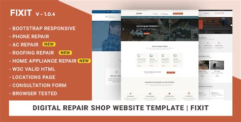 phone computer repair shop website template fixit by