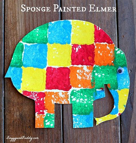 elmer elephant colours buggy sponge painted elmer the elephant buggy and buddy