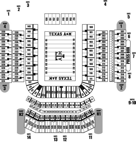 kyle field section map tiger stadium stadium seating chart