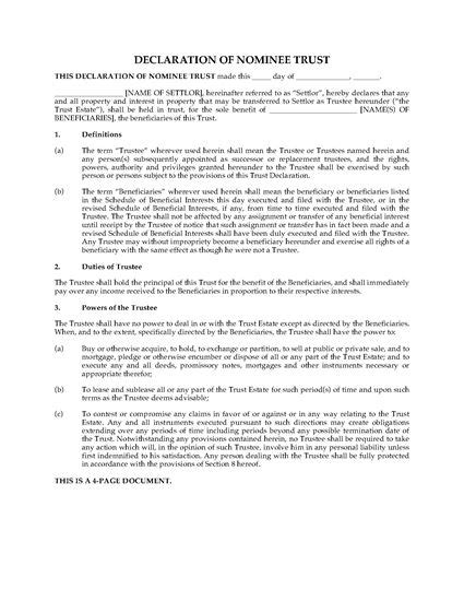 Usa Declaration Of Nominee Trust Legal Forms And Business Templates Megadox Com Nominee Agreement Template