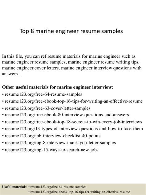 Marine Service Engineer Cover Letter by Top 8 Marine Engineer Resume Sles