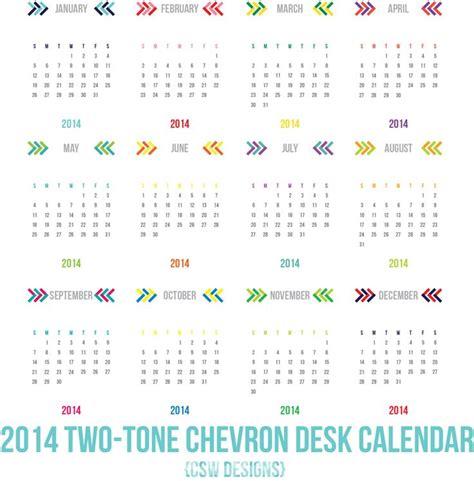 two tone chevron 2014 calendar instant download los