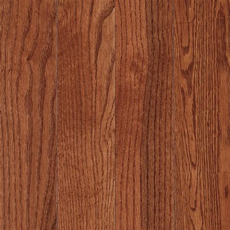 Prefinished Solid Hardwood Flooring Mohawk 3 25 In W X 75 In Thick Prefinished Oak Solid Hardwood Flooring Gunstock Oak Lowe S