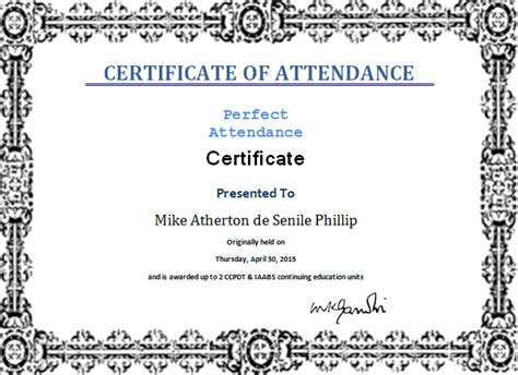 ms word perfect attendance certificate template word