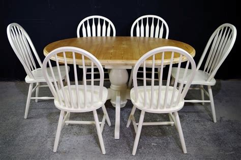 farmhouse pedestal table and chairs oval pine pedestal table 6 farmhouse bow back chairs
