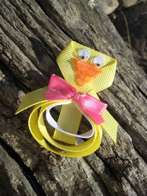 Jepit Rambut Hairbow Hjr043 easter hair bow easter ribbon sculpture hair clip yellow hair clip yellow duck