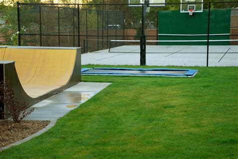 backyard half pipe in ground troline basketball