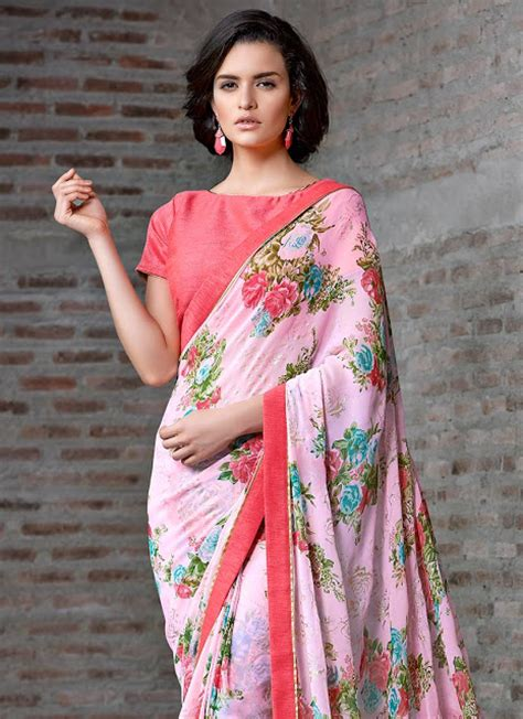 Floral Print Blouse Material For Saree by Saree Blouse Designs Craze In The Ethnic Saree