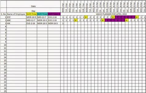 Annual Leave Calendar Excel   Calendar Template 2016